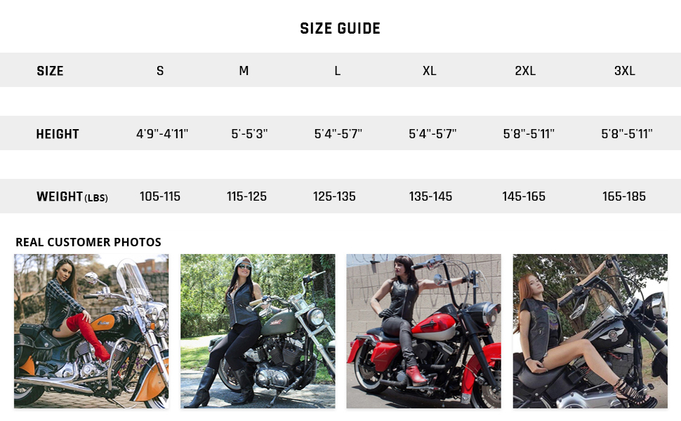 Haughty Top Grade Cowhide Leather Vest For Women Genuine Biker Cut Club With Side Laces Size Guide