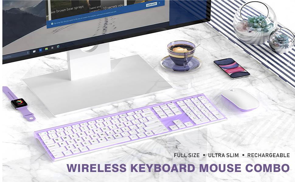 full size ultra slim rechargeable wireless keyboard mouse white purple 12303 (1)