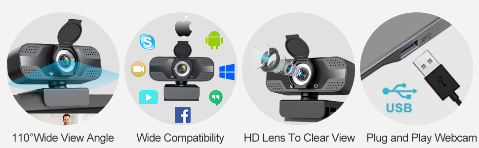 1080P Full HD USB Webcam with Microphone + Tripod + Privacy Shutter