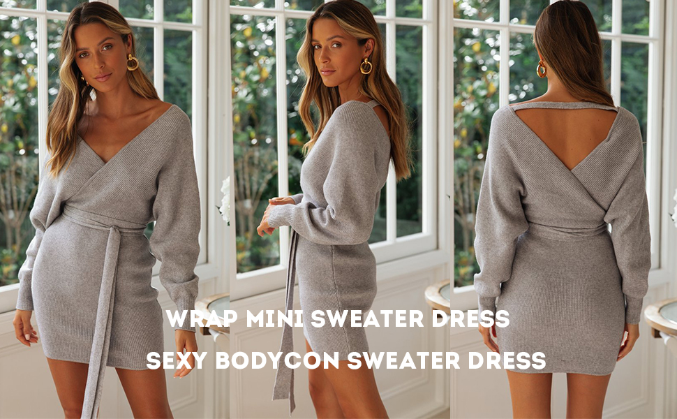 V Neck Sweater Dress,Belted Sweater Dress,Sexy Sweater Dress,V-Neck Sweater Dress,long sweater dress,