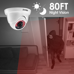 80FT Night Vision for All-night Security Coverage
