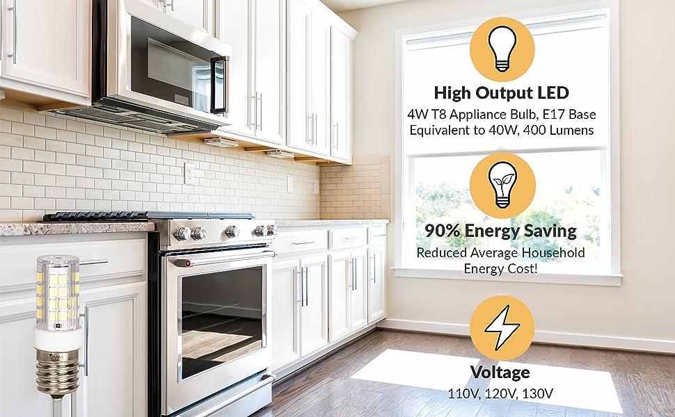 simba lighting t8 appliance light bulb 4w 40w e17 intermediate screw base 400 lumens 110v 120v 130v