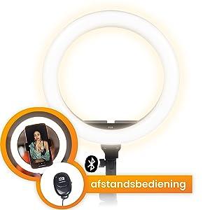 Ringlamp met statief en afstandsbediening
