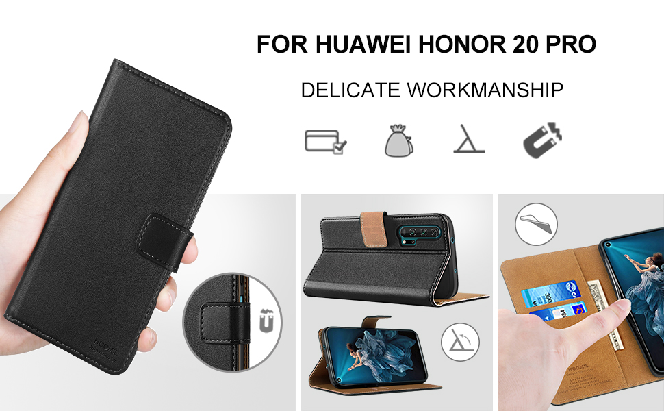 HOOMIL Case Compatible with Honor 20 Pro, Premium PU-Leather Flip Wallet Phone Case for Honor 20 Pro Cover (Black)