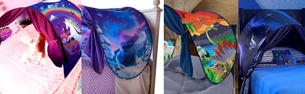 carpa de ensueño wizard world, fantasía interior de la cama redes de regalo
