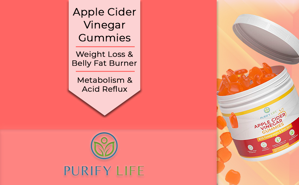apple cider vinegar purify life gummies support weight management increase metabolism detoxify