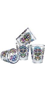 Culver Sugar Skulls Decorated Shot Glass