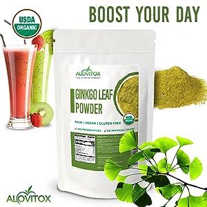 Organic ginkgo leaf powder ginkgo biloba supplement aging kosher pure powder tea alovitox natural