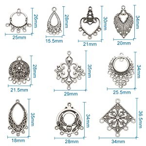 50pcs Alloy Tibetan Style Jewellery Pendants for Necklace 29mm Antique Silver