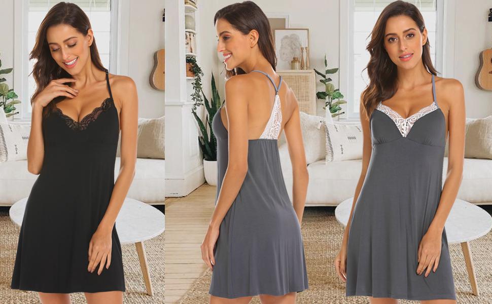 Women Lace Modal Sleepwear Chemises V-Neck Full Slip Babydoll Nightgown