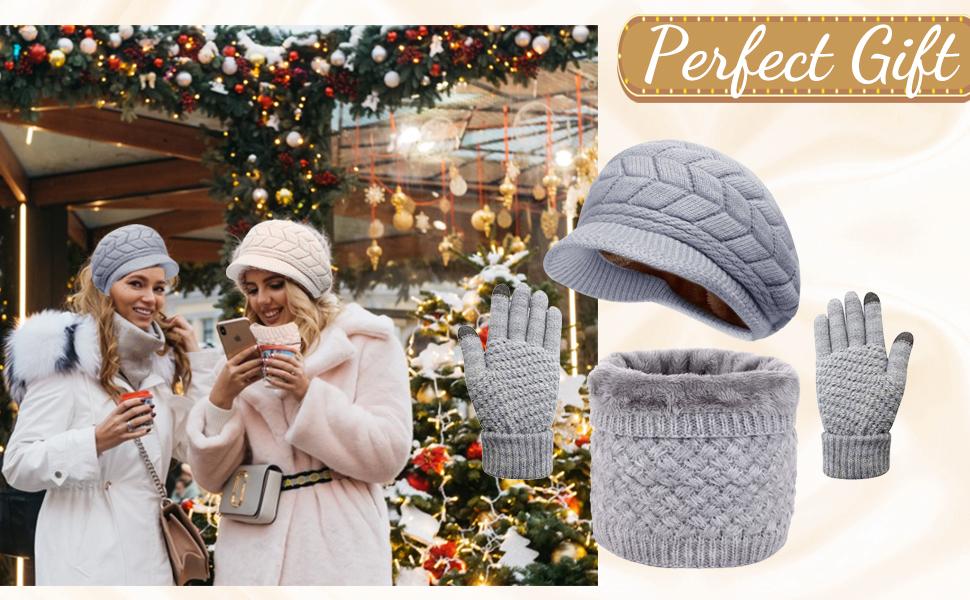 Wintermütze Damen Schal Set Mütze Schal Set für Herren mit Fleecefutter