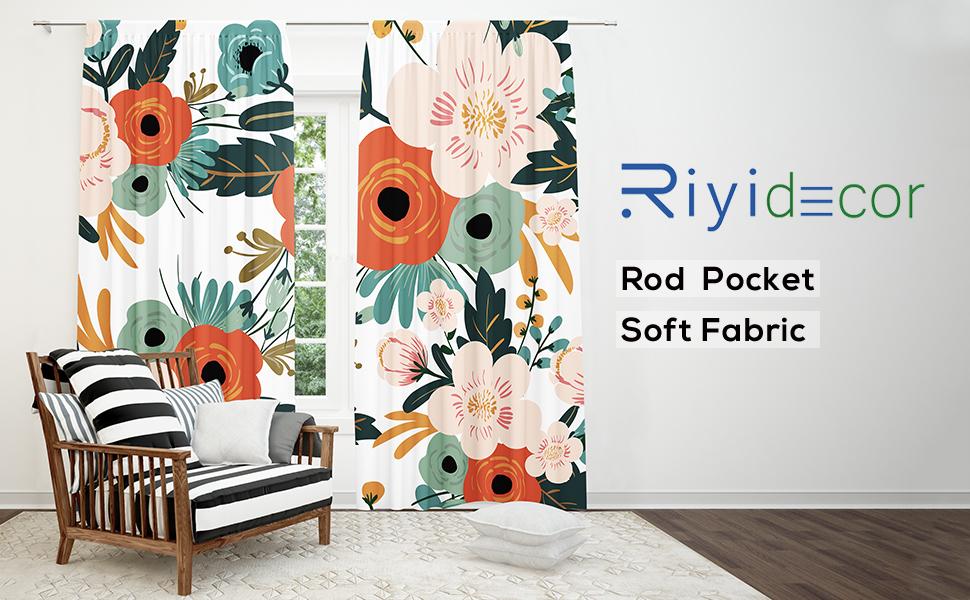 Riyidecor Spring Flowers Curtains Season Floral Printed Rod Pocket Artwork Green Leaves Rustic