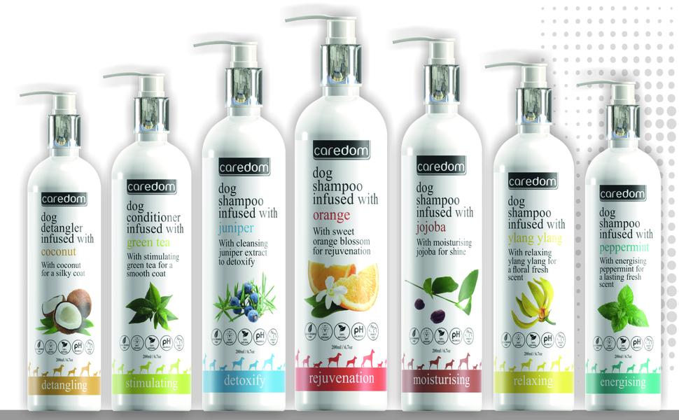 Caredom Luxury Range Dog Shampoo Group Image