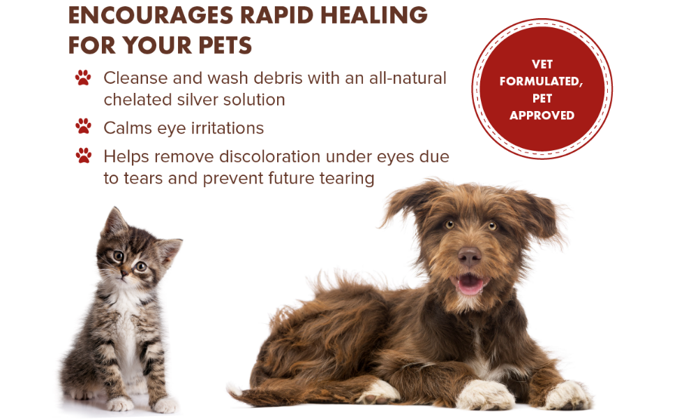 PetSilver eye wash to cleanse and wash debris away, calm eye irritation, help remove discoloration