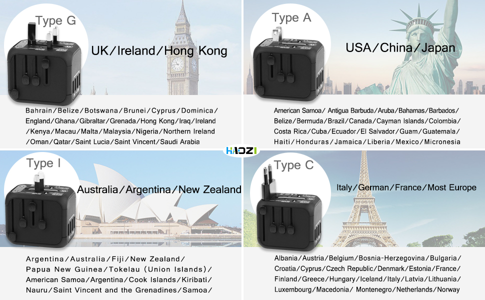 Travel Power Adapter Wall Charger for UK, EU, AU, Asia Covers 150+Countries BLACK