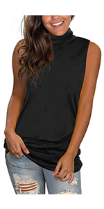 Turtle Neck Top for Women Casual Sleeveless Shirts Sexy Loose Fit
