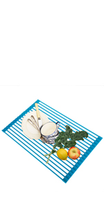 Rollable Over The Sink Dish Drying Rack Foldable Stainless Steel Roll Up Dish Rack Kitchen Drainer