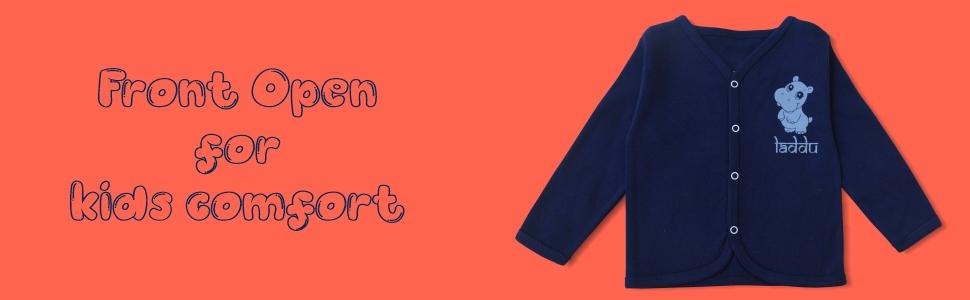 soft cotton fabric, loungewear, comfort wear, front open tshirt , infant wear