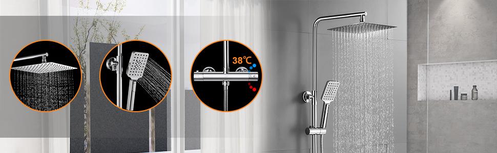 BONADE Columna de Ducha Termostática 38 °C Conjunto de Ducha Redonda para Baño con 10