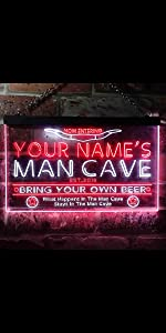 ADVPRO LED neon sign Personalized fonts text dual-color bright light man cave buffalo horn star