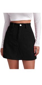 Women High Waist Corduroy Mini Skirt