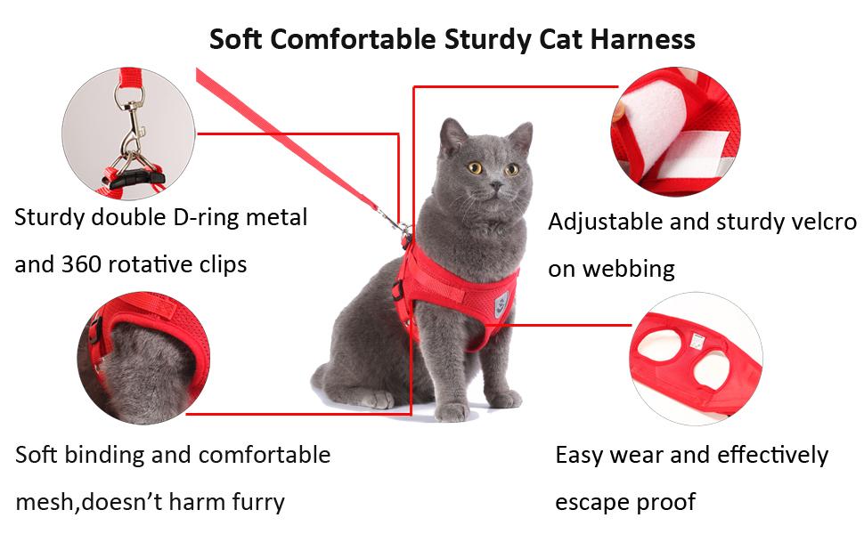 sturdy comfortable soft no choke easy wear escape proof cat vest harness