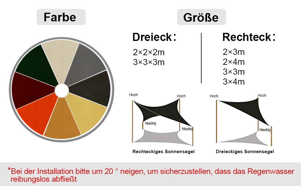 Dreieck 2 x 2 x 2m Rot Polyester Sonnensegel Sonnenschutz Garten Balkon und Terrasse wetterbest/ändig mit UV Schutz Windschutz f/ür Garten Terrasse Camping OKAWADACH Sonnensegel