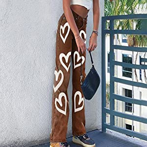 brown color heart print jeans