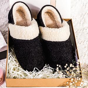 6-MERRIMAC Women's Hearth Fuzzy Memory Foam Closed Back Slipper Anti-Skid Breathable House Shoes