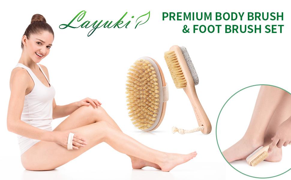 LAYUKI Premium Body Brush amp; Foot Brush Set