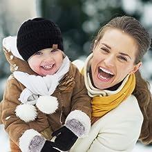 Winter Mittens Gloves Beanie Hat Set