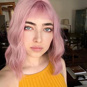 pink wavy bob wig