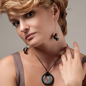 Murano glass pendant, murano glass earrings, murano glass millefiori, murano glass jewelry
