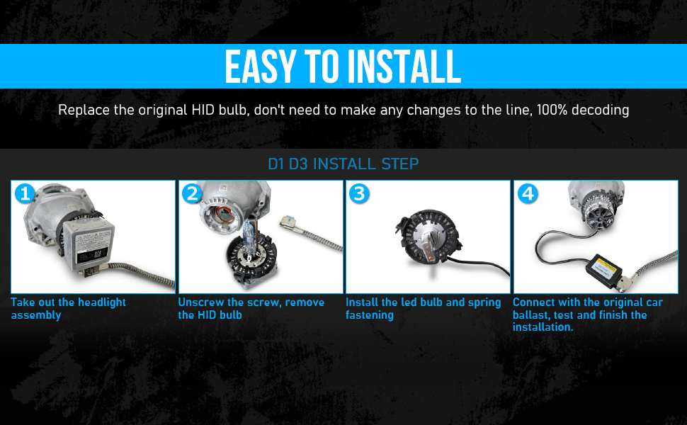 D1S Led Headlight Bulbs Conversion Kit-100/% Decoding-8600LM 6000K 35W Led Headlights Replace OEM Xenon Bulbs M10 D1