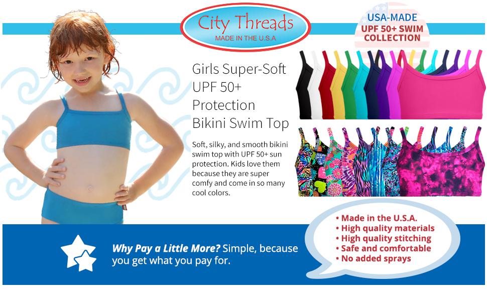Girls super soft UPF 50+ sun protection bikini swim top swimming comfy colors