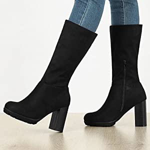 Allegra K Women's Mid Calf Block Heel Boots