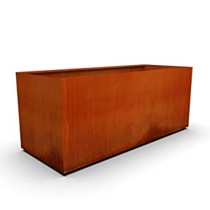 corten steel rectangular planter 360 side image