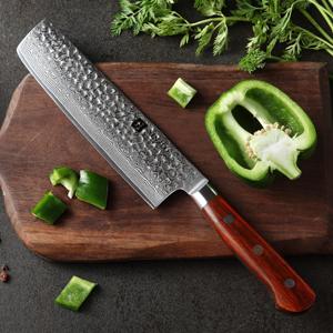 Product : XINZUO Yun Series Nakiri Knife Blade: 67 Layer Damascus Steel Handle: Rosewood