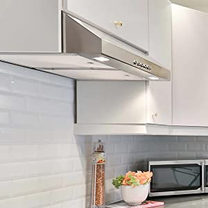 Under Cabinet Range Hood with 350 CFM Reusable Aluminum Filters Push Button Hykolity 30 in Stainless Steel Kitchen Stove Vent Hood with 3 Speed Exhaust Fan