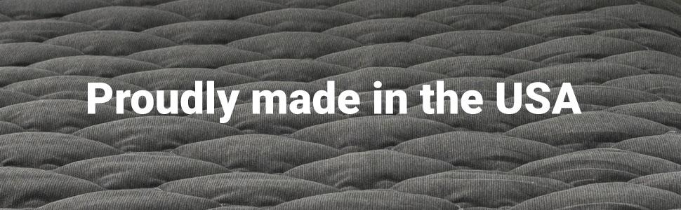 grey pillowtop mattress pad, made in the usa