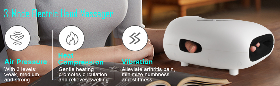 Three modes electric hand massager