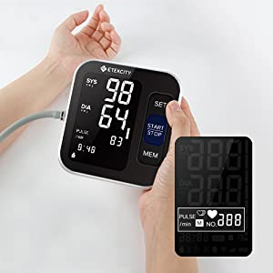 Etekcity Blood Pressure Monitor, Upper Arm Rechargeable BP Monitor Machine with 2-User