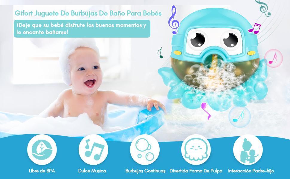 Ducha de Ni/ños Ba/ño de Burbujas con Agradables Canciones Infantiles para Ideales Burbuja de Ba/ño Juguetes para Ni/ños Gifort Juguete Ba/ño Bebe