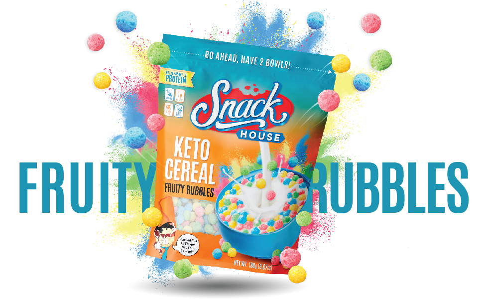 Keto Cereal Puffs Fruity Rubbles 7Servings ValueSize Protein Snack HealthySnack HighProtein LowCarbs