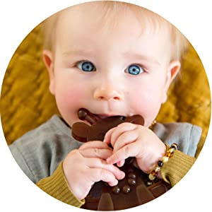 Amber Teething Toy Little Bamber is a Natural Amber and Rubber Giraffe Teething Toy for Natural Teething Comfort Comforting Texture Teething Toy for Sore Gums Teething Necklace Alternative