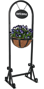 welcome planter stand, planter stand, planter basket stand, welcome outdoor decor, planter, flowers