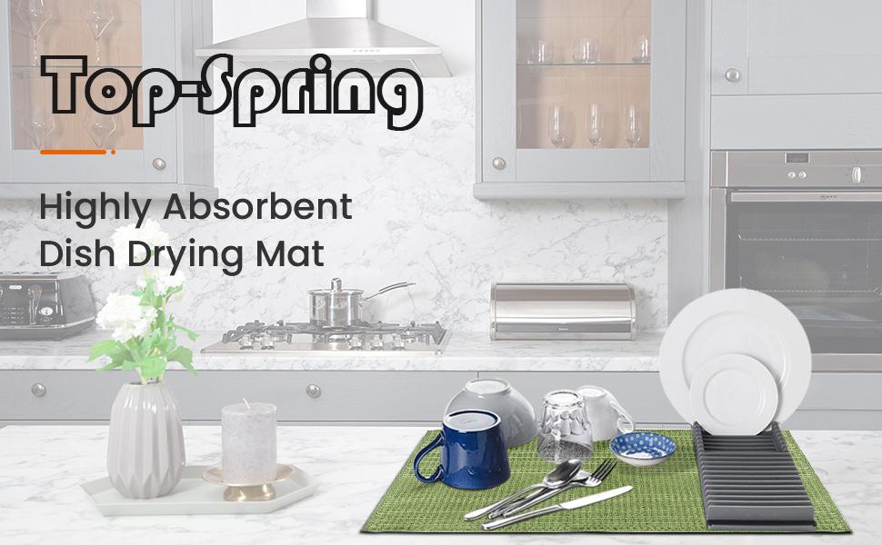 top spring highly absorbent dish drying mat