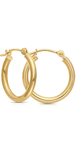 Small gold hoops 14k yellow gold