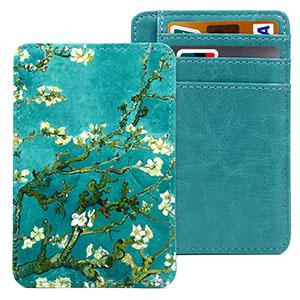 green flower slim card holder wallet