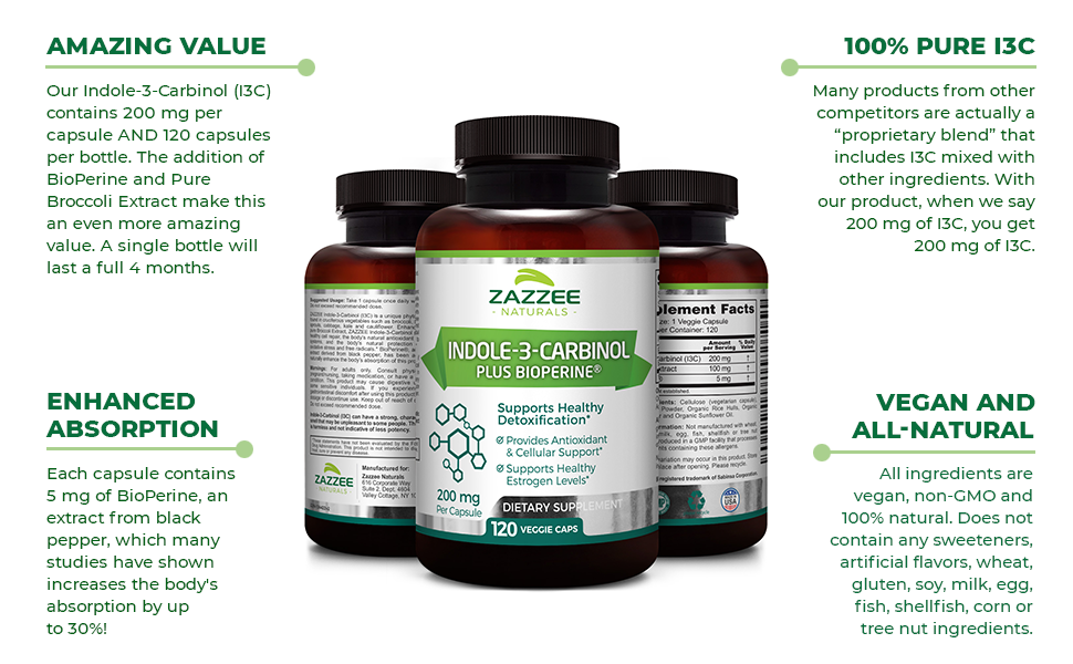 Amazing Value, 100% Pure Indole-3-Carbinol, Enhanced Absorption, Vegan and All-Natural.